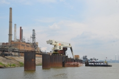 The M/V Paul T performing harbor services on the Ohio River