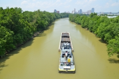 The M/V James H towing a barge of steel pipes down the Licking River near Cincinnati, OH