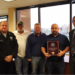 Pictured, left to right, are Boone County Water Rescue Capt. Dale Appel, Terry Raines, Rob Carlisle, Ed Lapikas of C&B Marine and Boone County Administrator Jeff Earlywine.